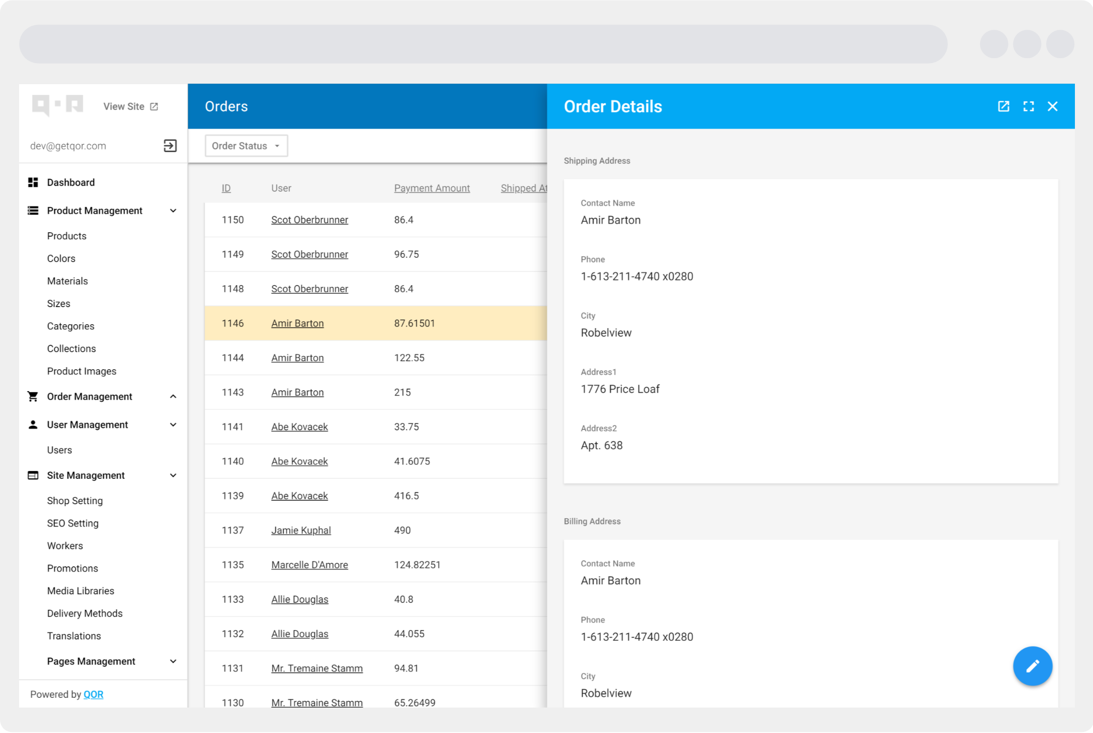 The QOR Admin Interface using Material Design